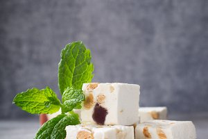 Soft nougat blocks with peanuts