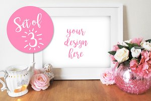 Set of 3 Floral Photo Frame Mockup