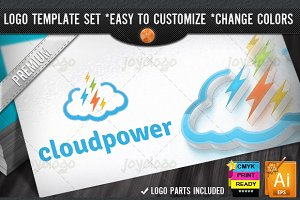 Digital Pixel Flash Power Cloud Logo