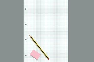 Pencil and eraser on a gridded sheet