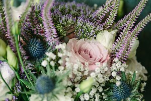 Brides Wedding Bouquet, Purple White