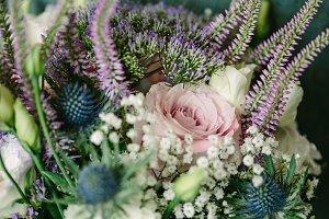 Brides Wedding Bouquet, Purple White