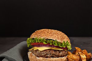 Fresh burger fast lunch meal