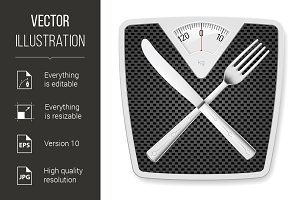 Bathroom scales with fork and knife.