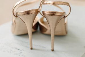 Bridal Wedding Shoes, Gold Heels