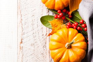 Autumn old wood background with pumpkin