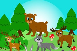 Forest animals - vector clipart