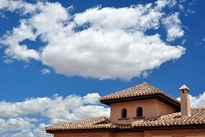 house, roofs, blue sky