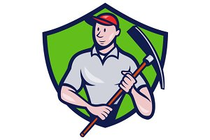 Construction Worker Pickaxe Crest
