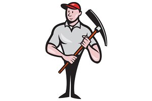 Construction Worker Pickaxe Cartoon