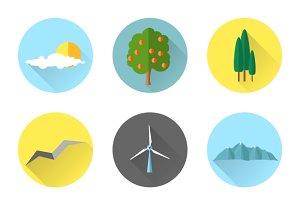 Flat landscape elements