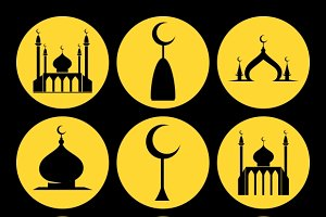 Mosque dome icons set