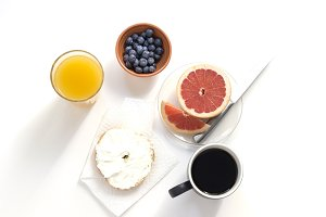 Breakfast Foods, Coffee, and Juice