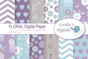 Floral Digital Paper Pack - Purple
