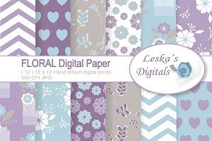 Floral Digital Paper Pack - Purple