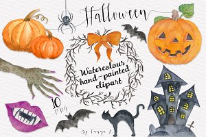Halloween Pumpkin Watercolor clipart