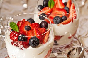 Fresh yogurt with berries light breakfast