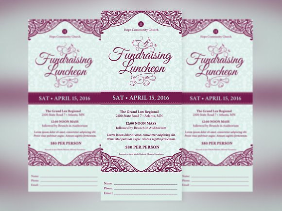 fundraising luncheon ticket template templates creative market