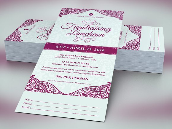 Fundraising Luncheon Ticket Template ~ Templates ~ Creative Market