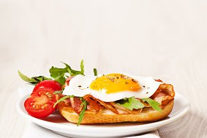 Fried egg sandwich breakfast meal