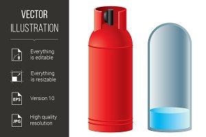 Red butane gas cylinder