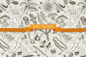 Vector seamless spice pattern