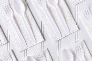 Plastic Utensils On Napkins