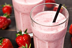 Strawberry fresh milkshake summer drink