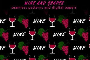 Wine and grapes seamless patterns