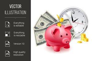Pig moneybox and money
