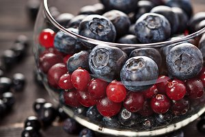 Berries assortment in glass bowl