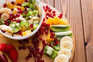fruit salad on a cutting board