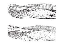 Hand Drawn Field Landscape
