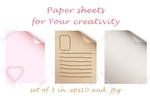 Set of original paper sheets
