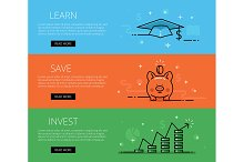 Finance line vector web banners set