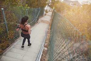 Fitness young woman running