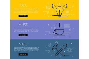 Idea line vector web banners set
