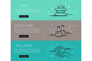 Wellness line vector web banners set