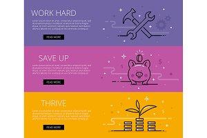 Financial literacy web banners set