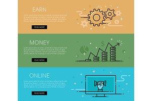 Earn Money On-line web banners set
