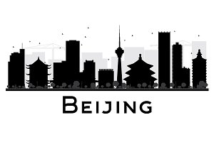 Beijing City Skyline Silhouette