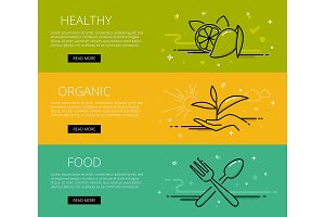 Healthy food web banners set