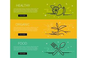Healthy food web banners set