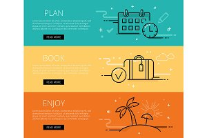 Vacation line vector web banners set
