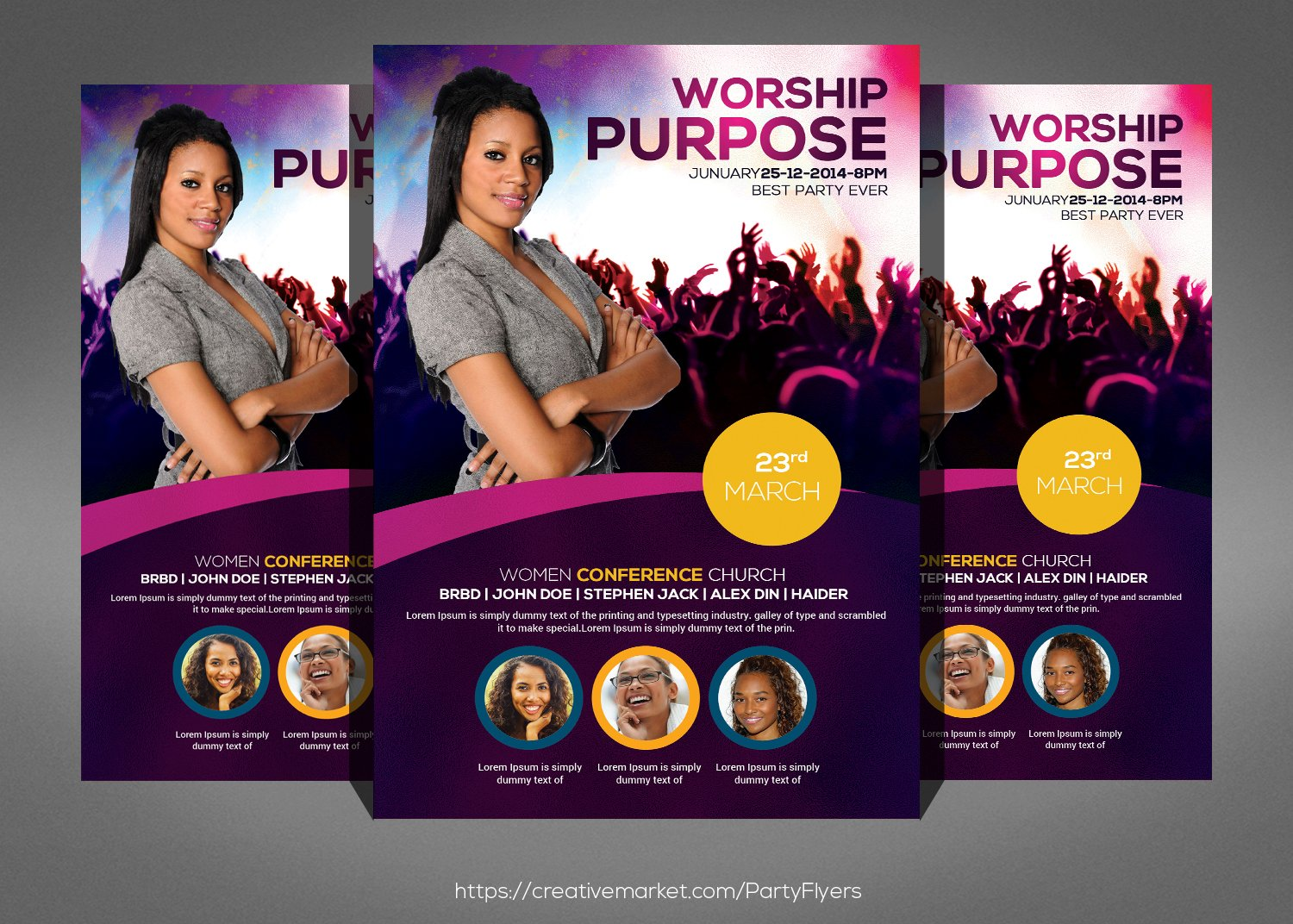 charity donation flyers bundle flyer templates on creative market women conference flyer template