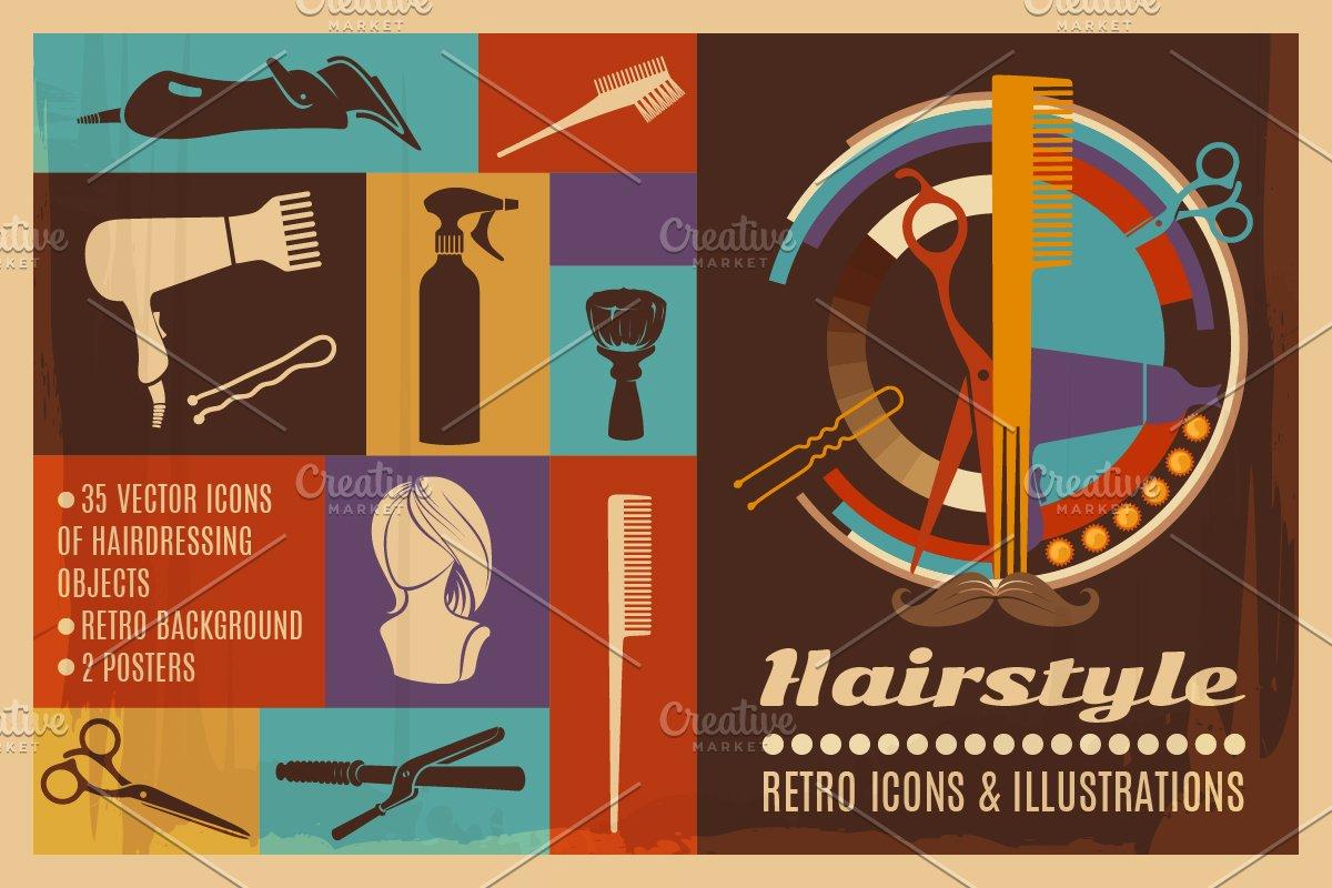 Barbershop Retro Illustrations Illustrations Creative Market