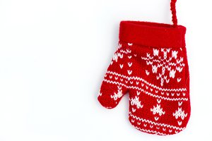 Christmas Red Knitted Mitten