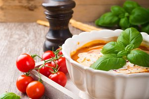 Fresh tomato soup  with basil and cream