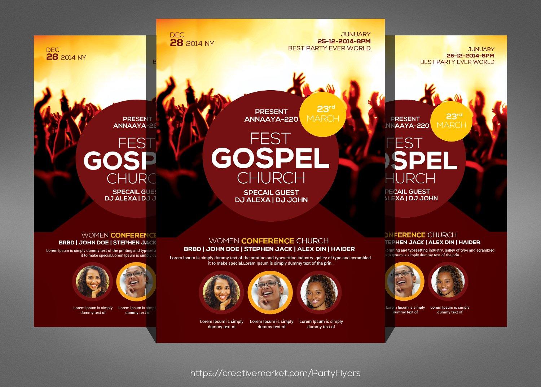 gospel concert flyer photos graphics fonts themes templates gospel fest church flyer template