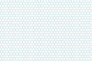 Cyan color hexagon grid on white